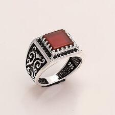 OTTOMAN Islamic Muslim Men's Red Aqeeq Ring 925 Sterling Silver Fine Jewelry New