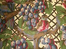Antique Grape Arbor Trellis Bird Cotton Fabric ~ Purple Magenta Pink Rose Green