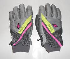 Men's Medium Gates Solar Alpha Ski Gloves (Silver/Gray w Green and Pink Strips)