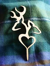 Wooden Deer & Heart Cake Topper Stag Antlers Wedding from The Isle of Skye