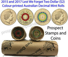 2017 and 2015 Lest We Forget Australian $2 Coloured Coin rolls - 2 Mint Rolls