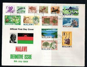 1964 Malawi (Nyasaland) definitive full set on illustated FDC with Blantyre cds