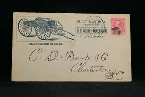 Florida: Titusville 1895 Blount & Anthony Horse Wagon Advertising Cover, RPO