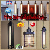 Vintage Industrial Style Metal Wire Cage Ceiling Pendant Light Lamp Shades UK