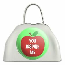 You Inspire Me Teacher Apple White Metal Cowbell Cow Bell Instrument