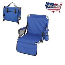Folding Stadium Chair Tailgating Portable Seat Football Blue Arm Padded Bleacher