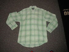 Second Image Medium/Large Mens Green/White Checked Casual Dress Collared Shirt