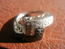 DREAMS OF INDIA 14K WHITE GOLD  Black & White Diamond Bypass Ring SIZE 6