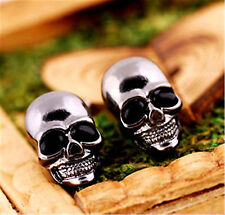 Goth punk biker very cool black skull earrings