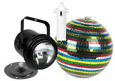 KIT BOULE A FACETTES COULEUR 15CM AVEC MOTEUR + PROJECTEUR LAMPE PAR36 AVEC BASE