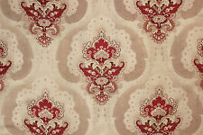 Fabric Antique French Art Nouveau printed cotton red & neutral tones 2.2 yards