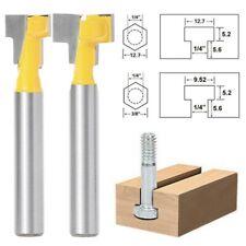 2 Pcs 1/4'' Shank Yellow T-Slot Cutter Router Bit Set for 3/8'' & 1/2'' Hex Bolt