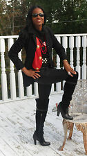Designer Fitted Georges Rech Black wool & Swakara Fur Coat Jacket Stroller S 36