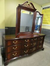 Thomasville Flame Mahogany Serpentine Triple Dresser With Trifold Jewelry Mirror