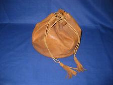 Vintage Round Leather Drawsting Large Purse Handbag