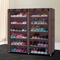Portable Double Shoe Rack Closet Shelf Storage Organizer Cabinet 12 Layer Coffee
