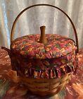 Longaberger 1995 Pumpkin Basket #19402 Complete Set With Fall Foliage Padded Lid