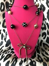 Betsey Johnson Vintage Black Lucite Polka Dot White Crystal Pearl Bow Necklace