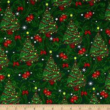 Merry Christmas Basics Christmas Trees  Cotton Fabric By the Yard  Bfab