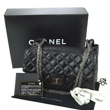 Authentic CHANEL 2.55 Quilted CC Chain Shoulder Bag Black Leather Italy O01149
