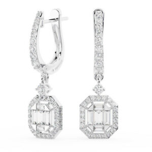 1.20CT Round Brilliant & Baguette Cut Diamonds Hoop Earring Available in 9K Gold