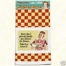 Fiddlers Elbow Cotton Kitchen Towel Two Choice's For Dinner Retro Design New