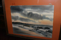 Vintage M Cole Signed Water Color Painting Before The Storm Ocean Beach Water