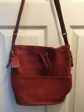 COACH Red Leather Bucket Drawstring Purse Tote Bag Crossbody Shoulder Vintage