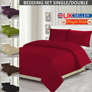 Plain Duvet Set Quilt Covers with Cover Bedding Pillowcase For Single Double UK