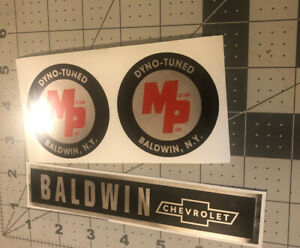 Motion Products and Baldwin Chevrolet Trunk Rear Pan Label And MP Labels Set 3
