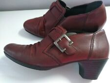 Rieker Antistress Leather Shoes/Boots Burgundy Size 4 Ladies Womens Ex Cond
