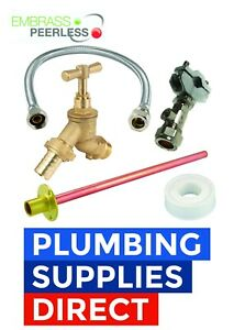 Brass Outdoor Garden Tap Kit Connector Fittings Pipe - PTFE - Self Cutting Valve