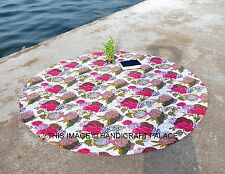 Indian Kantha Work Quilted Round Cotton Bedspread Reversible Gudari Beach Throw