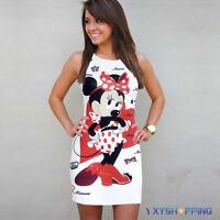 Women Crew Neck Sleeveless Minnie Mouse Cartoon Short Mini Pencil Dress Clubwear