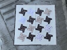 Handmade Valentine's Day Quilted Wall Hanging/Table Topper/Metallic Rose Black