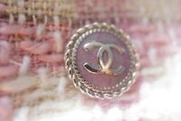 100%  Chanel button 1 pieces  Metal logo CC  0,7 inch or 17 mm pink