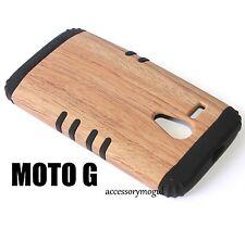 For Motorola Moto G XT1032 - HARD & SOFT RUBBER HYBRID CASE BROWN WOOD OAK BLACK