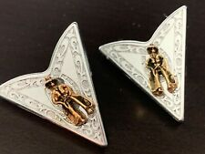 WESTERN SHIRT Collar Tips Silver & Brass Horseshoes Cowboys VINTAGE U.S.A - EUC