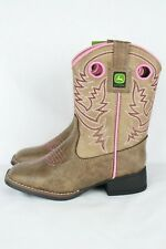 New John Deere Girl's Johnny Poppers Square Toe Western Boots Kids 13m #JD1021