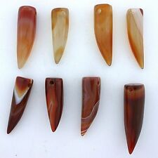 Two 1 to 1 1/2 Inch Carnelian Agate Horn Tooth Claw Pendant Focal Bead Gemstone