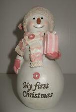 Baby GIRL'S 1st Natale Pupazzo di Neve Ornamento BOMBONIERA ROSA Baby'S Primo Natale