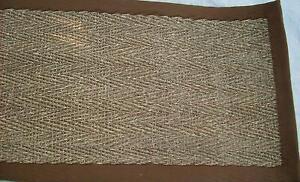 Seagrass Rug-Herringbone Design with Brown Binding. Unbacked- 2.29mts x 1.65mts.