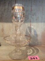 Vintage Glass Vase/ Bowl Hand Decorated Flowers & Gilding Two Pieces
