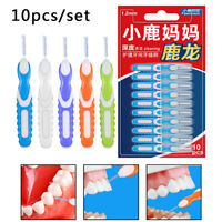 10pc Interdental Brush Cleaning Dental Brushes Floss Pick Push-pull Toothp TRF