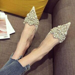 Women Med Kitten Heels Rhinestones Pearls Pointed Toe Mules Slippers Shoes HOT
