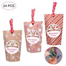 24PCS Christmas Gift Bags Kraft Paper Ribbon Favor Candy Box Xmas Party Decor