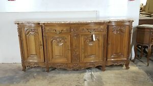 Large French Antique Louis XV Style Marble Top Sideboard Buffet