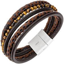 Armband 5-reihig Leder braun mit Tigeraugen-Kugeln und Edelstahl 18,5 cm