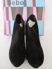 BEBO LUCIA 2 BLACK FAUX SUEDE HIDDEN PLATFORM SIDE ZIP SHOE/ANKLE BOOT UK 6