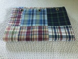 Nautica Shower Curtain Colorful Cotton Madras Plaid Patchwork Lined